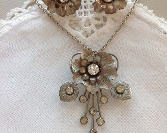 Very Vintage Earrings and Pendant, Floral, Brushed Silver Tone with Clear Rinestones, April Birthstone, 24 in, 61 cm