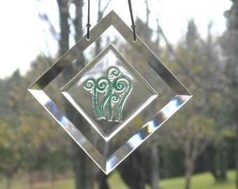 Fiddleheads, Fiddlehead Fern Suncatcher,  Engraved Fiddlehead Suncatcher,  Fused Glass Fiddlehead,  Ferns,  Fern Window Hanging, BV122