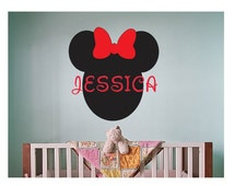 Minnie Mickey Mouse Name Wall Decal Sticker Large kids bedroom big fun nursery Custom kid boy or girl name script disney pink play big