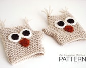 Toddler & Child CROCHET PATTERN : Hayden The Owl Fingerless Mittens - Kids size - Animal gloves