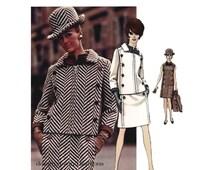 1960s VOGUE MOD DRESS Pattern Double Breasted Jacket Pattern Jacques Heim Designer Vogue 1919 Paris Original Bust 36 Womens Sewing Patterns