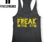 Women's Gym Tank Freak In The Gym Fitness Tank Top Tri Blend Racer Back Soft Tank Top Work Out Tank Black
