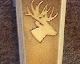 Pine Wood Western Bootjack with Light Oak Deer  Logo