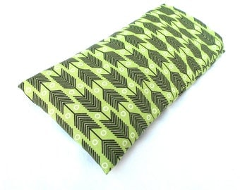 Green and Black Arrows Eye Pillow with Removable Case- With or Without Scent - Relaxing Eye Pillow Green