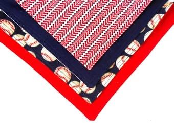 Baseball Double Sided Lunch Cloth Napkins -Set of 2 Baseball Napkins