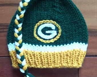 Hand Knit Green Bay Packers Baby Boy or Girl Hat - Great Photo Prop