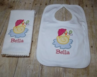 Baby Girl Bib and Burp Cloth-Personalized Baby Girl Burp Cloth-Girl Personalized Bib-Baby Girl Duck Burp Cloth-Girl Duck Bib-Baby Girl