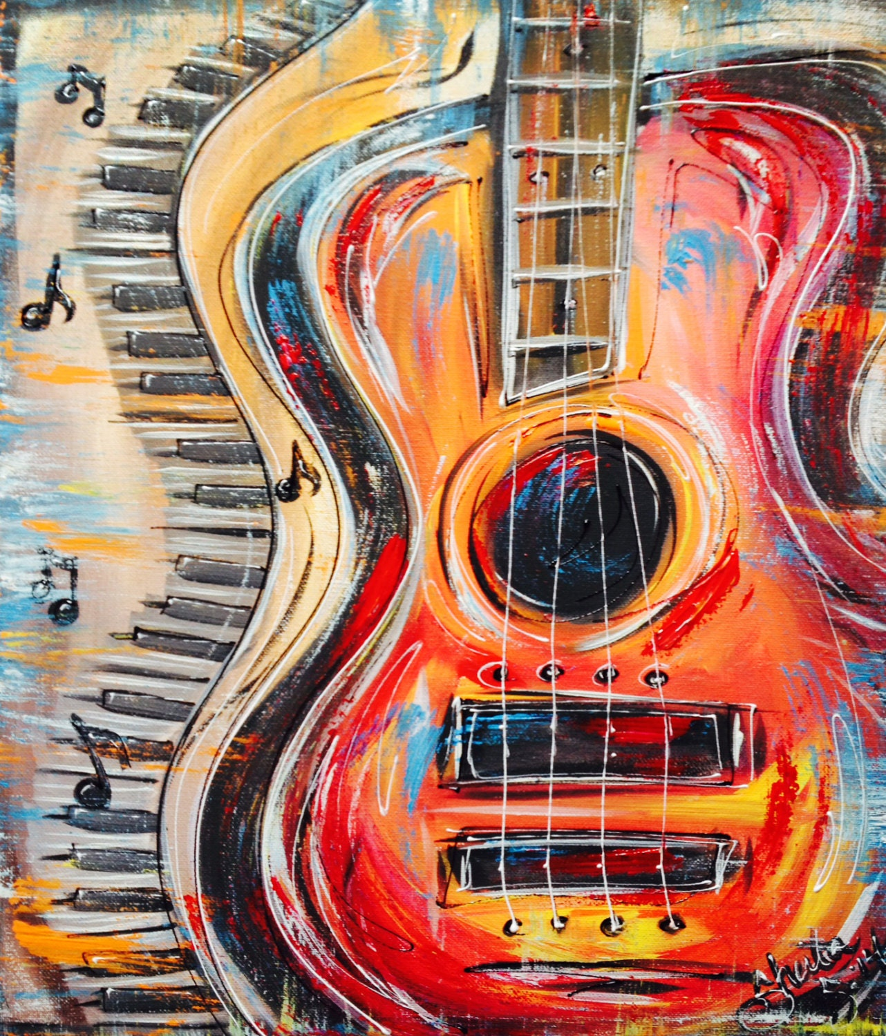 funky abstract colorful guitar and keyboard with music. Black Bedroom Furniture Sets. Home Design Ideas