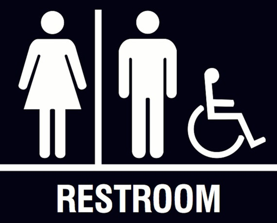 Handicap restroom men women sign quality plastic outdoor for Unisex handicap bathroom sign
