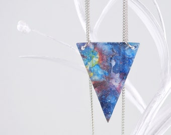 Galaxy Stardust Triangle Necklace With Hand Painted Silk In Colors of the Univers With Silver Necklace Of Stainless Steel