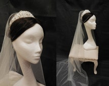 Ivory Bridal Wedding Chapel 1Tier/Single layer soft tulle veil 180cm + Vintage Style Jewellery Beads Crown Tiara is for sale.
