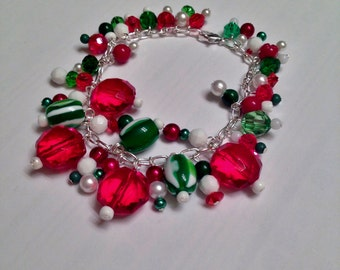 Holiday Christmas Red Green and White Bracelet.  8 Inches.  Silver Chain.