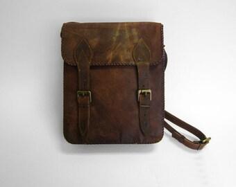 Handmade Real Brown Leather Vintage Style Satchel Bag, Laptop Bag, Messenger Bag