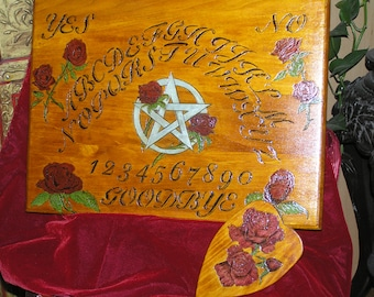 DELUXE Gothic Rose Pentacle Spirit Board with planchette~ouija