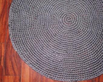 Handmade Crochet Rag Rug in Silver Grey