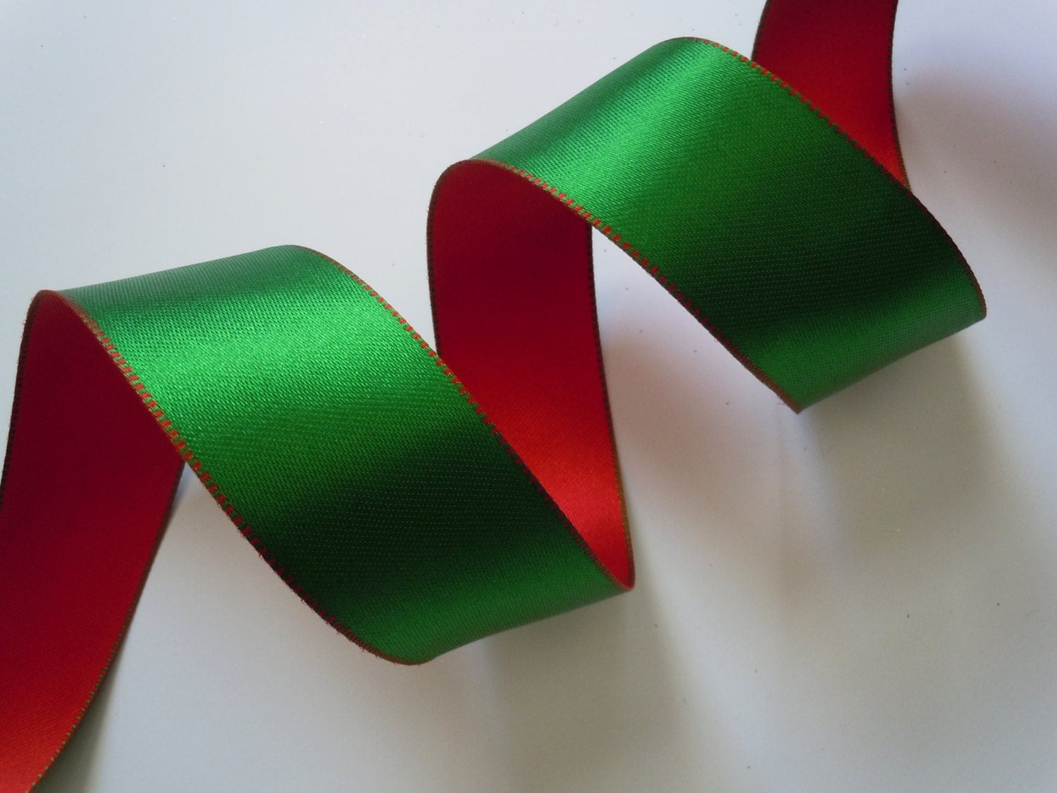 Red Green Satin Wired Ribbon Christmas by AllRibbonsAndThings