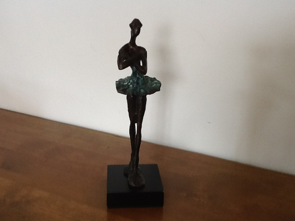 Bronze Ballerina Statue Style Of Giacometti Painted Wooden