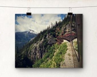 White Pass Railway, Alaska Photography, Train Photo, Skagway, Bridge