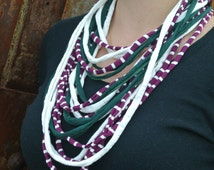 Fabric Necklace, scarf necklace, T-shirt yarn, cotton, Women's Necklace, Off White, Green, Purple Stripe