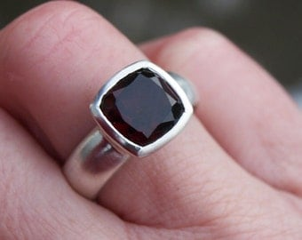 Large garnet ring, cushion cut garnet ring