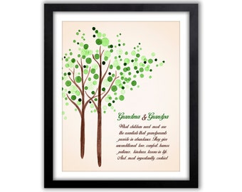 Grandparent Gift - Watercolor Tree - Grandparents Tree - Quote For Grandparents - Wall Art - Christmas Gift For Grandparents