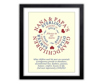 Gifts for Grandparents - Gift For Mom -   Personalized Gift For Grandparents,  Any Color, Gifts for Grandparents, Grandkids Print