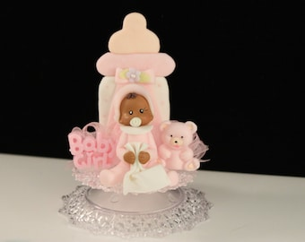 African American Girl Cake Topper / Decoration / Baby Shower
