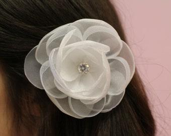 White Flower Rhinestone Bridal Hair Clip / Hair Accessories