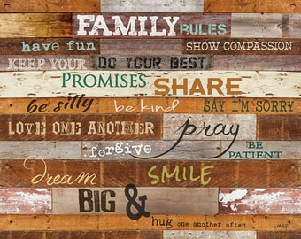 MA1002 - Family Rules on wood slats