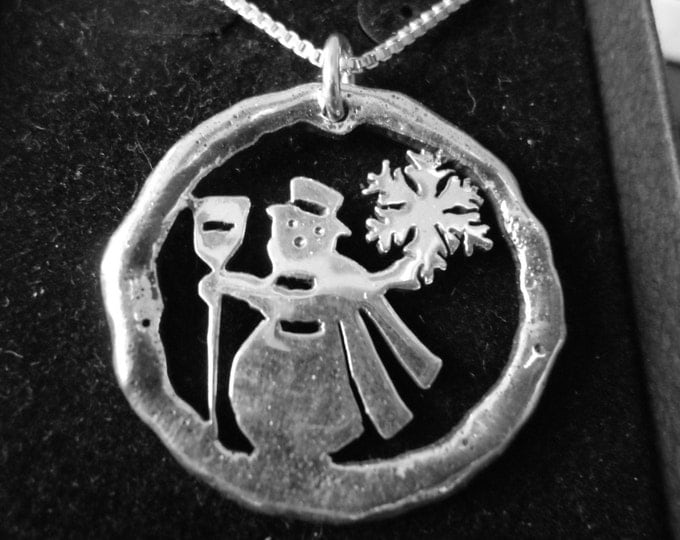 Snowman necklace melted half dollar size w/sterling silver chain