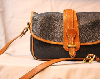 1980's Black and Tan Dooney and Bourke Equestrian leather purse