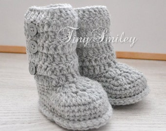Gray  Baby Girl Boots, Newborn Boots, Baby Girls Boots, Crochet Baby Bow Boots