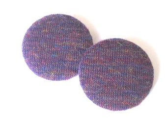 Purple Heather Fabric Button Earring