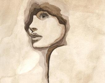 Female Portrait Watercolor Contemporary Painting Sepia Print
