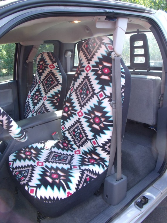 A Set of Shadow Diamond Multi seat covers and steering wheel cover, custom made.