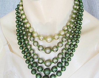 Vintage Necklace Multi Strand Bead Beaded Necklace Green Retro Vintage Jewelry Graduated 5 Strands