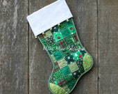 Christmas Stocking, Quilted Patchwork, MADE to ORDER with Free Personalization, Green and Red Cotton, Flannel Cuff with Jingle Bells, Lined