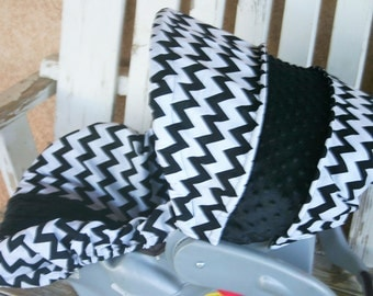 black and white chevron with black minky infant car seat cover and hood cover