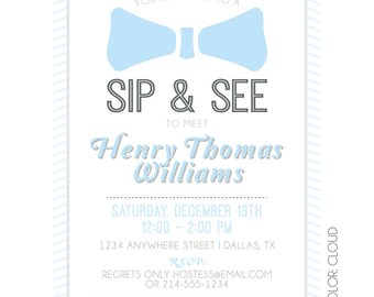 Bow Tie Sip and See Digital Invitation