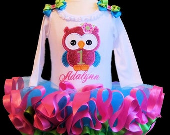 Number 1 Sparkle Owl Tutu Outfit 2 pieces includes top and tutu only