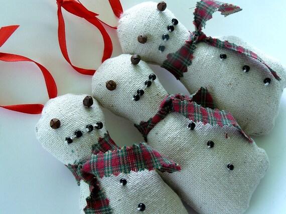 Handmade Christmas Fabric Ornaments, Snowman Country Christmas ...