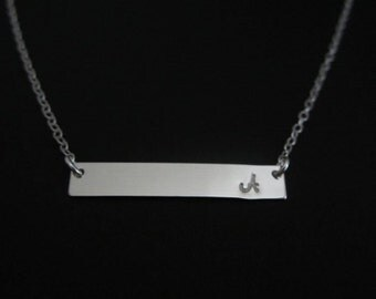 STERLING SILVER BAR Necklace. Initial Necklace. Name Plate Necklace. Layering Necklace. Dainty Modern Jewelry. Bridesmaid Necklace.