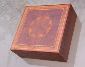 French antique 1900s wooden wood jewelry box hand made mosaic stars hard wood secret box engraved