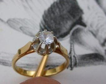French antique 18k solid yellow gold Ring with Faceted  diamond  like crystal  gemstone princess ring egagement ring wedding ring size 7.5