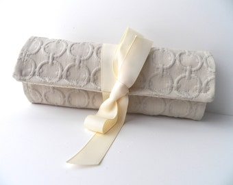 Jewelry Roll Travel Accessory Bridesmaid Gift in Champagne Linking Ring Fabric
