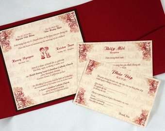 Bilingual English and Vietnamese Tradition Wedding Invitations Suite with RSVP card