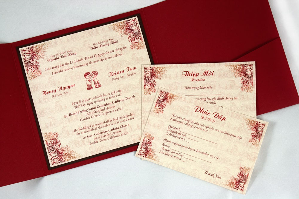 Wedding Invitation Wording English: Bilingual English And Vietnamese Tradition Wedding Invitations