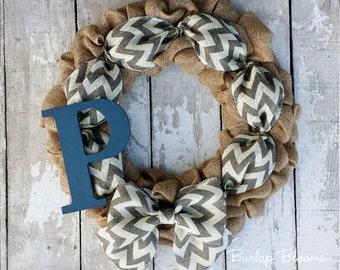 Monogram Burlap Wreath, Personalized Wreath, Custom Monogram Wreath, Anniversary Wreath, Wedding Wreath, All Season Decor