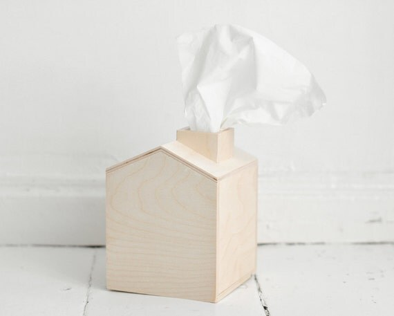 Bo te de mouchoirs maison en bois avec chemin e bois brut - Boite a mouchoirs maison ...