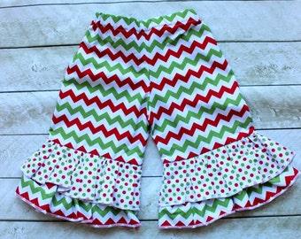 girls christmas ruffle pants toddler girl double ruffle pants  Baby girl Christmas outfit Red and Green chevron and polkadot ruffle pants